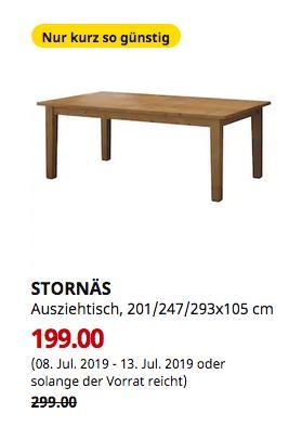 IKEA Ludwigsburg - STORNÄS Ausziehtisch, Antikbeize, 201/247/293x105 cm - jetzt 33% billiger