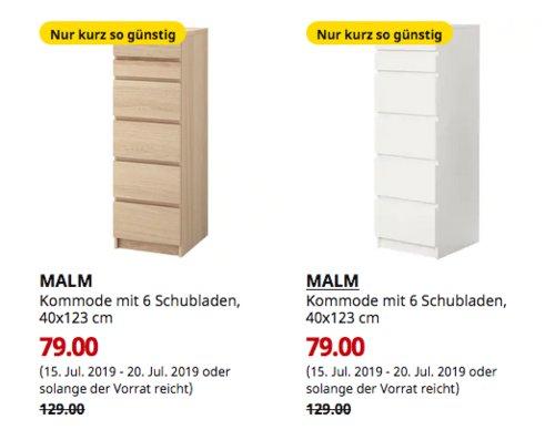 IKEA München-Brunnthal - MALM Kommode mit 6 Schubladen,40x123 cm, Eichenfurnier oderweiß - jetzt 39% billiger