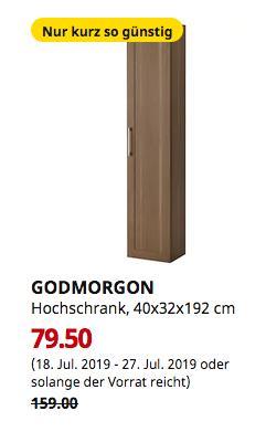 IKEA Magdeburg - GODMORGON Hochschrank, Nussbaumnachbildung, 40x32x192 cm - jetzt 50% billiger