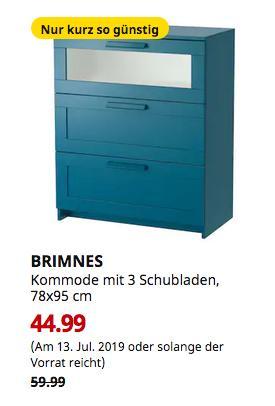 IKEA Oldenburg - BRIMNES Kommode mit 3 Schubladen, dunkel grünblau, Frostglas, 78x95 cm - jetzt 25% billiger