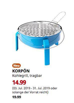 IKEA Osnabrück - KORPÖN Kohlegrill, blau, 35 cm - jetzt 25% billiger