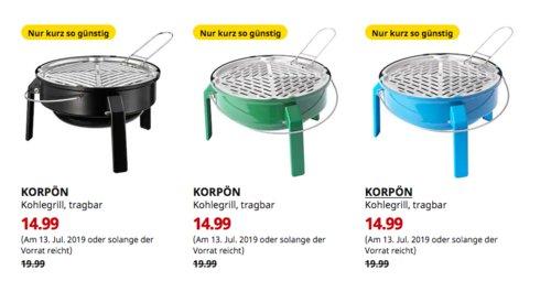 IKEA Regensburg - KORPÖN Kohlegrill, tragbar (blau, grün oder schwarz) - jetzt 25% billiger