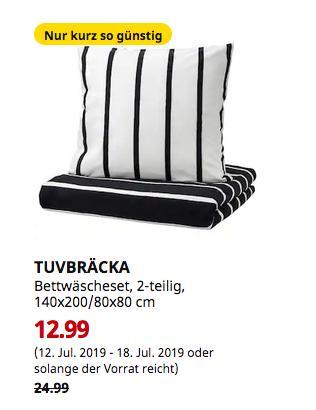 IKEA TUVBRÄCKA Bettwäscheset, 2-teilig, schwarz, weiß, 140x200/80x80 cm - jetzt 48% billiger