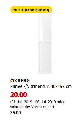 IKEA Wallau - OXBERG Paneel-/Vitrinentür, weiß, 40x192 cm - jetzt 43% billiger