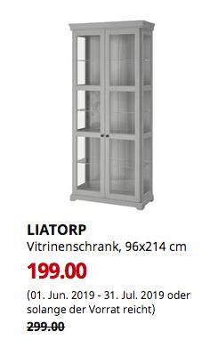 IKEA Wuppertal - LIATORP Vitrinenschrank, grau, 96x214 cm - jetzt 33% billiger
