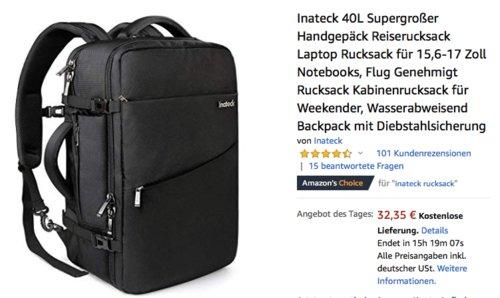 Inateck 40L Handgepäck/Laptop-Rucksack für 15,6-17 Zoll Notebooks - jetzt 30% billiger