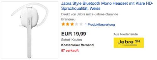 Jabra Style Bluetooth Mono Headset mit HD-Sprachqualität, weiß - jetzt 49% billiger