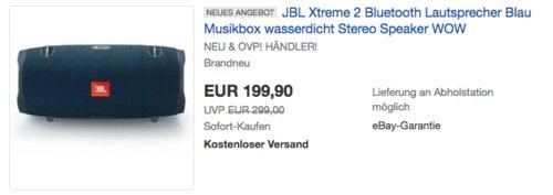 JBL Xtreme 2 Bluetooth Lautsprecher mit integrierter Powerbank, blau - jetzt 11% billiger