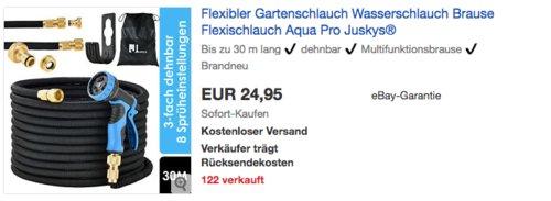 "Juskys Flexibler Gartenschlauch ""Aqua Pro"" 30m mit Multifunktionsbrause - jetzt 14% billiger"