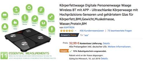 KAMTRON Digitale Bluetooth-Personenwaage aus gehärtetem Glas - jetzt 22% billiger