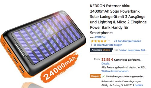 KEDRON S1DE01 Externer 24000mAh Akku-Solar-Powerbank, orange - jetzt 7% billiger