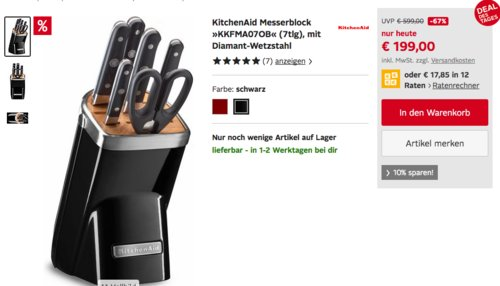 "KitchenAid 7-tlg. Messerblock ""KKFMA07OB"", schwarz oder rot - jetzt 47% billiger"