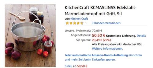 KitchenCraft KCMASLINSS Edelstahl-Marmeladentopf mit Griff, 9 Liter - jetzt 10% billiger