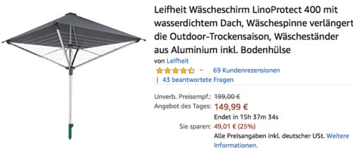 Leifheit Wäscheschirm LinoProtect 400 mit wasserdichtem Dach, 40 m Leinenlänge - jetzt 14% billiger