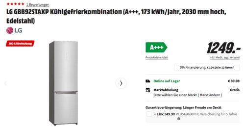 LG GBB92STAXP Kühlgefrierkombination (A+++, 2030 mm hoch, Edelstahl) - jetzt 16% billiger