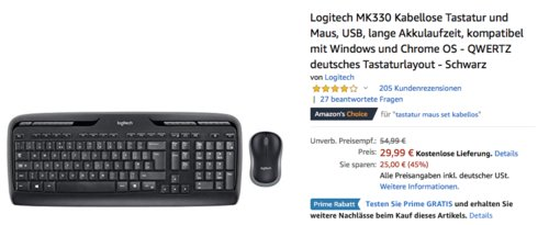 Logitech MK330 Kabellose Tastatur-Maus-Set - jetzt 20% billiger