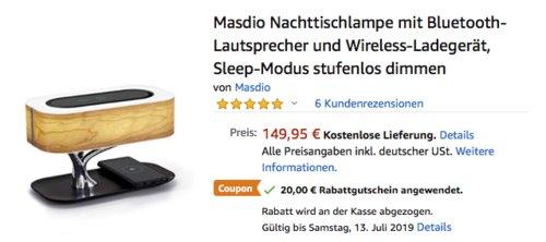 Masdio Nachttischlampe mit Bluetooth-Lautsprecher und Wireless-Ladegerät, 20 Watt - jetzt 13% billiger