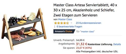 Master Class Artesa Serviertablett aus Akazienholz und Schiefer, 40 x 30 x 25 cm - jetzt 19% billiger