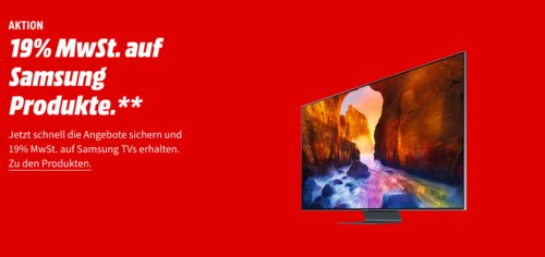 MediaMarkt - 19% Mehrwertsteuer Geschenk auf ausgewählte Samsung Fernseher: z.B. Samsung Q60R 108 cm (43 Zoll) 4K QLED Fernseher - jetzt 16% billiger