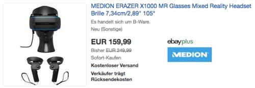 MEDION ERAZER X1000 MR Glasses Mixed Reality Headset, B-Ware - jetzt 40% billiger