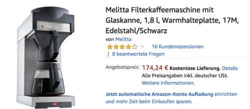 Melitta Filterkaffeemaschine 170 M mit Glaskanne, 2025 Watt - jetzt 11% billiger