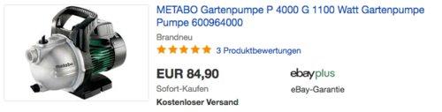 Metabo Gartenpumpe P 4000G, Fördermenge 4000 l/h - jetzt 12% billiger