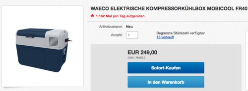 Mobicool FR40 elektrische Kompressorkühlbox (12/24 V / 100–240 V), 38 Liter - jetzt 10% billiger