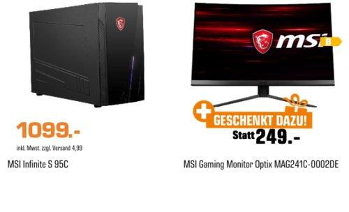 MSI Infinite S 9SC Gaming-PC (i5, 8 GB RAM, 256 GB SSD, 1 TB HDD, GeForce® RTX™ 2060 ) inkl. MSI Optix MAG241C Full-HD Curved Gaming-Monitor (1 ms, 144 Hz) - jetzt 19% billiger