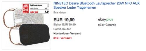 NINETEC Desire 20W Bluetooth Lautsprecher mit Trageriemen, schwarz oder weiß - jetzt 33% billiger