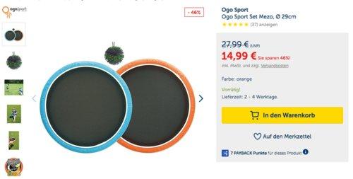 "Ogo Sport Set ""Mezo"", 2 Ogo Softdiscs (Ø29cm) mit elastischer Netzbespannung inkl. 1 Ogo Ball - jetzt 21% billiger"