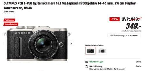 OLYMPUS PEN E-PL8 16 MP Systemkamera mit 14-42 mm Objektiv, schwarz/silber oder weiß/silber - jetzt 22% billiger