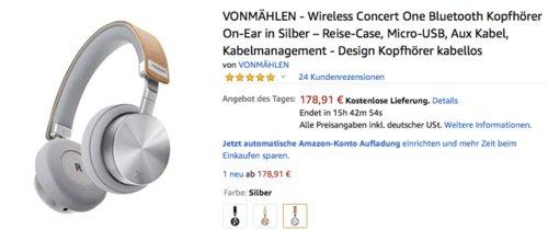 ONMÄHLEN  Wireless Concert One Bluetooth Kopfhörer, versch. Farben - jetzt 22% billiger