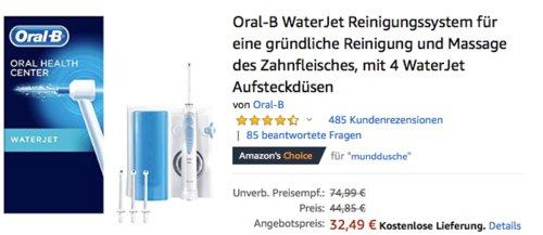 Oral-B WaterJet Reinigungssystem für eine gründliche Reinigung und Massage des Zahnfleisches - jetzt 28% billiger