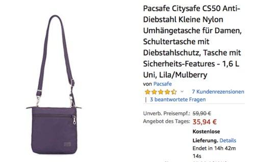 Pacsafe Citysafe CS50 1,6 L Anti-Diebstahl Umhängetasche für Damen, Lila/Mulberry - jetzt 40% billiger