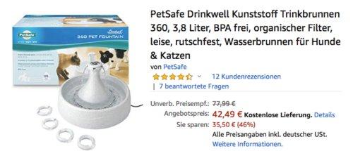 PetSafe Drinkwell Kunststoff Trinkbrunnen 360 für Hunde & Katzen, 3,8 Liter - jetzt 15% billiger