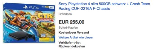 PlayStation 4 Konsole - Crash Team Racing Nitro-Fueled Bundle (Slim, Jet Black, CUH-22XXB (F-Chassis)) - jetzt 9% billiger
