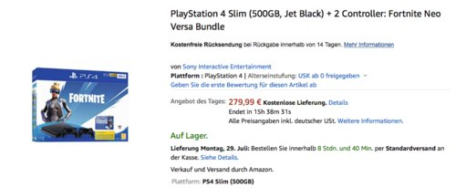 PlayStation 4 Slim (500GB, Jet Black) + 2 Controller: Fortnite Neo Versa Bundle - jetzt 19% billiger