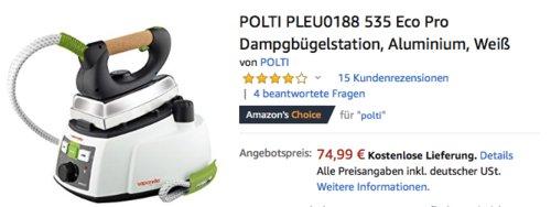 POLTI PLEU0188 535 Eco Pro Dampgbügelstation, weiß - jetzt 19% billiger