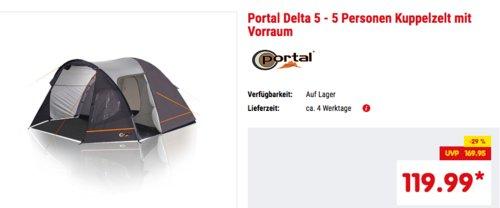 Portal Delta 5 - 5 Personen Kuppelzelt, 370 x 300 x 190 cm - jetzt 20% billiger