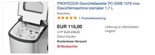ProfiCook PC-EWB 1079 Eiswürfelbereiter, 150 W - jetzt 12% billiger