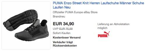 PUMA Enzo Street Knit Herren Laufschuhe Schwarz/Grau (39-47) - jetzt 29% billiger