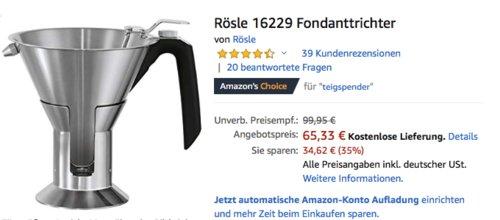 Rösle 16229 Edelstahl-Fondanttrichter, 1,2 Liter - jetzt 13% billiger