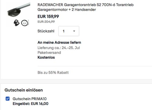 RADEMACHER Garagentorantrieb S2 mit max. 700N Zugkraft, inkl.  2x Handsender - jetzt 10% billiger