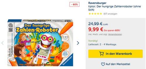Ravensburger tiptoi: Der hungrige Zahlenroboter (ohne Stift) - jetzt 24% billiger