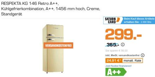 RESPEKTA KG 146 Retro Kühlgefrierkombination (creme, 1456 mm hoch, A++) - jetzt 10% billiger