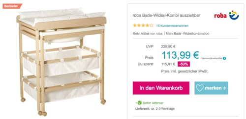 "roba Bade-Wickelkombination ""Baby Pool"", 56 x 83 x 100 cm - jetzt 10% billiger"