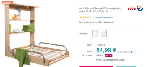 """roba Wandwickelregal """"Dschungelbaby"""" Natur, 79,5 x 63 x 76,5/19 cm - jetzt 6% billiger"""