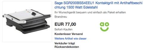 Sage SGR200BSS4EEU1 Kontaktgrill mit Antihaftbeschichtung, 1500 Watt - jetzt 22% billiger