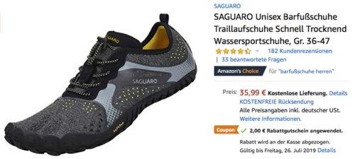 SAGUARO Unisex Barfußschuhe/Wassersportschuhe (36-46), schwarz - jetzt 6% billiger
