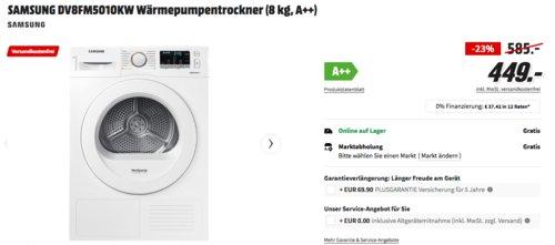 SAMSUNG DV8FM5010KW Wärmepumpentrockner (8 kg, A++) - jetzt 15% billiger